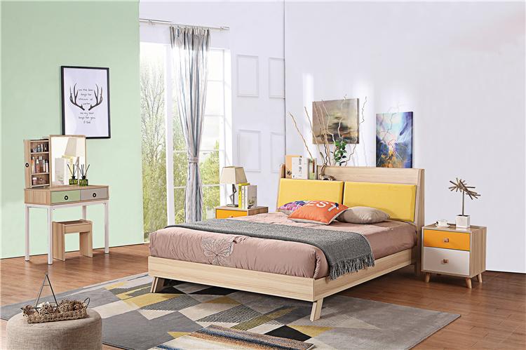 卧室板式家具床+床头柜+梳妆台02