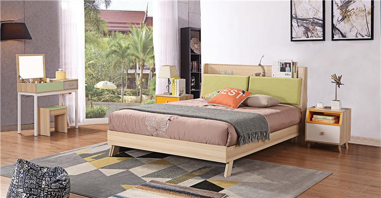 卧室板式家具床+床头柜+梳妆台03