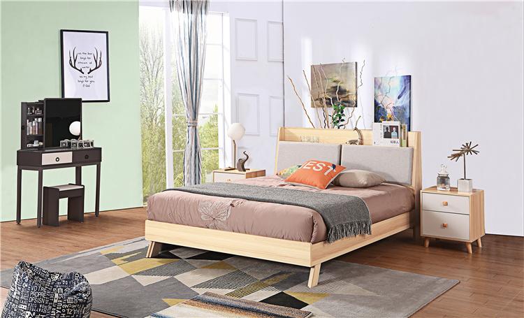 卧室板式家具床+床头柜+梳妆