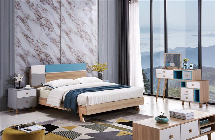 卧室板式家具床+床头柜+梳妆台06